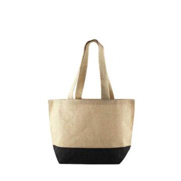 sac de plage bicolore noir en toile de jute