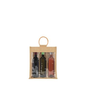 sac 3 bouteilles avec fenetre en toile de jute
