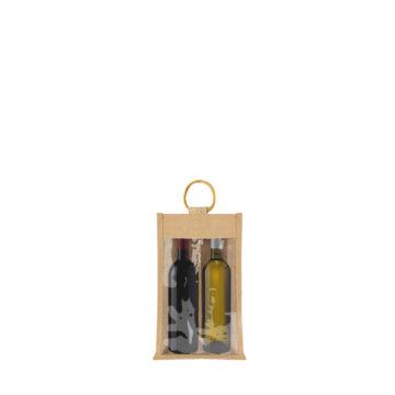 sac 2 bouteilles avec fenetre en toile de jute