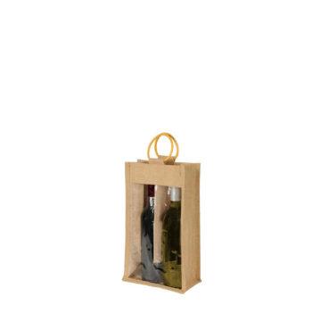 sac 2 bouteilles avec fenêtre en toile de jute