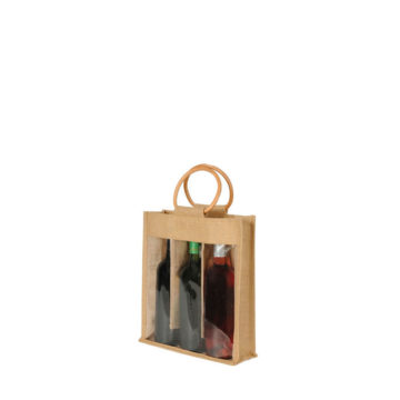 sac 3 bouteilles avec fenêtre en toile de jute