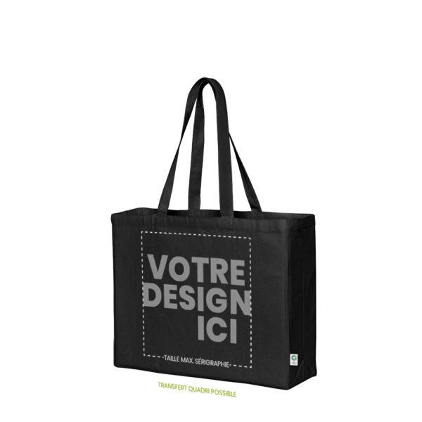 Personnalisation sac cabas noir coton bio