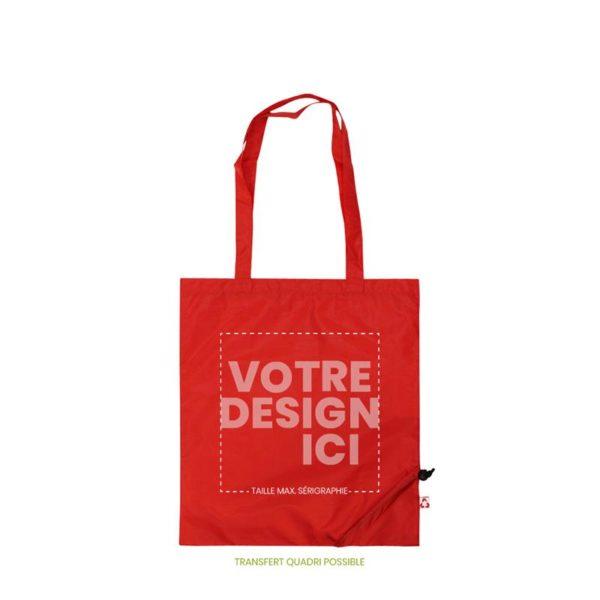 Personnalisation sac shopping rouge en PET Recyclé